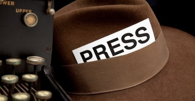 Newspaper Reporter's PressPass in Hat, White Background.